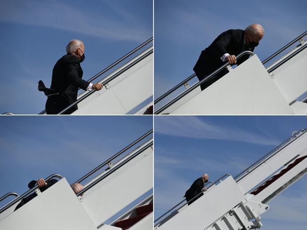 Biden struikelt op trap van Air Force One