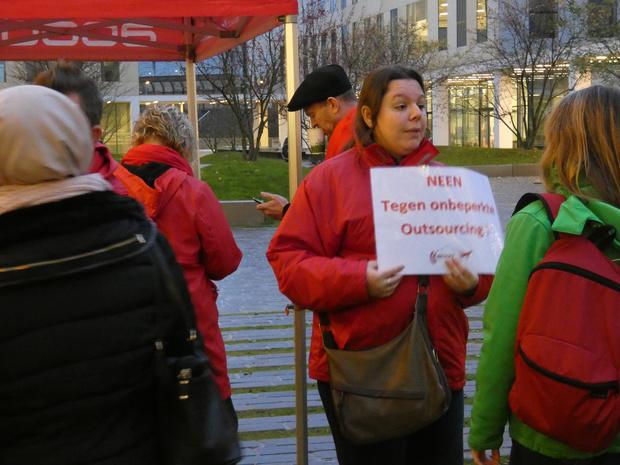 Vakbonden voeren actie aan Proximus-toren