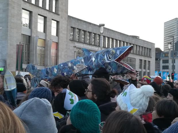 """Les """"Sardines"""" à Bruxelles pour dénoncer le populisme (en images)"""