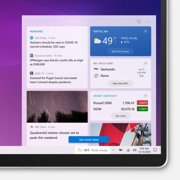 Microsoft teste des messages d'actualité dans Windows 10
