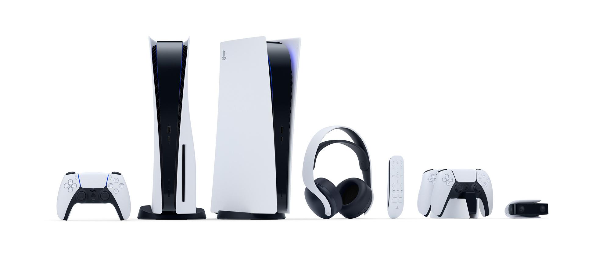 De PS5 met accessoires., Sony