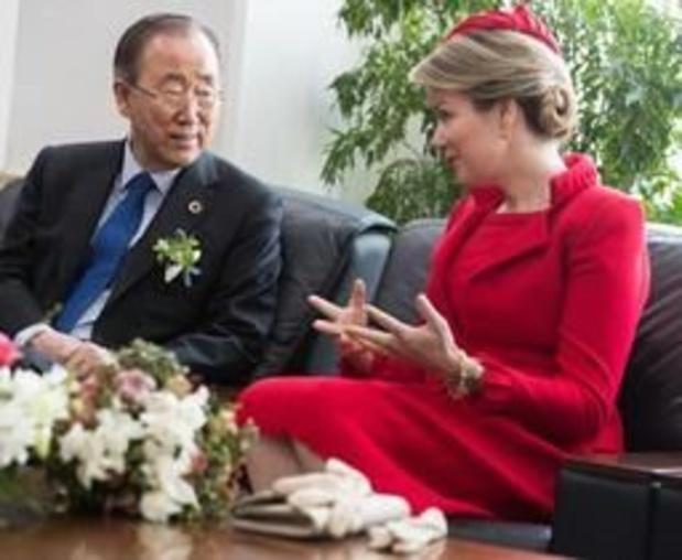 Koningin Mathilde ontmoet gewezen VN-secretaris-generaal Ban Ki-moon