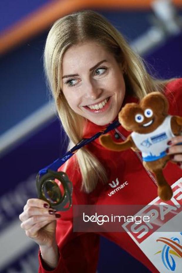 Championnats d'Europe d'athlétisme en salle - La championne d?Europe Elise Vanderelst fêtée dans son club du MOHA à Mons