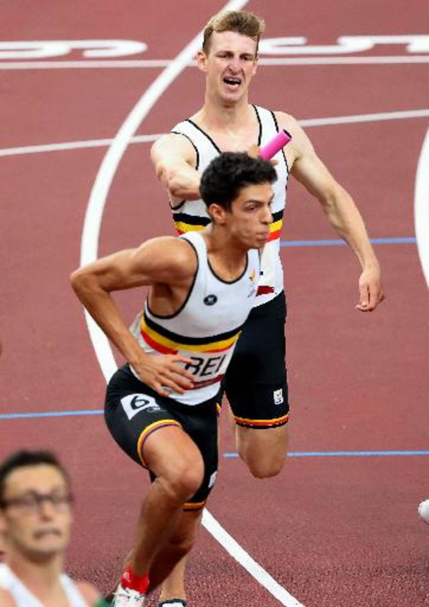 Alexander Doom, Jonathan Sacoor, Dylan Borlée et Kevin Borlée en finale du 4X400m