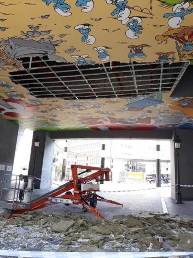 Effondrement de la fresque des Schtroumpfs de la Gare Centrale à Bruxelles