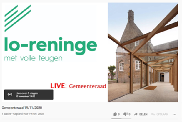 Eerste digitale gemeenteraad in Lo-Reninge