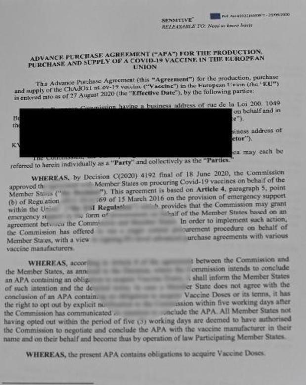 Onleesbaar gemaakte passages in contract met AstraZeneca... toch leesbaar