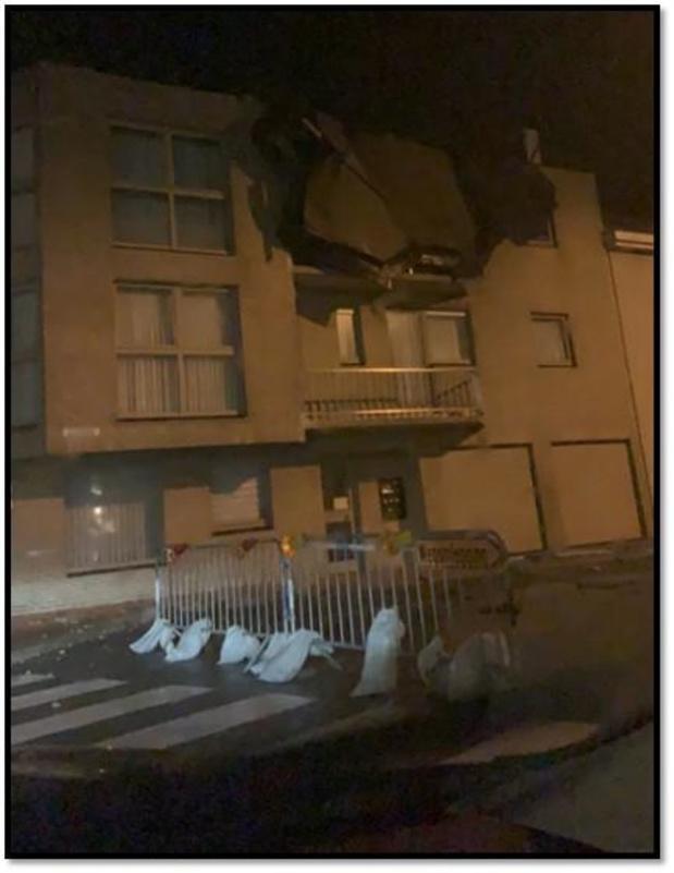 Veel materiële schade in Bredene en De Haan door storm Odette