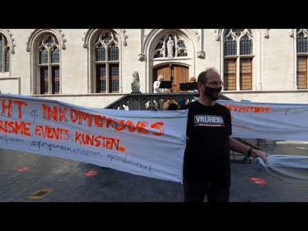 Betoging tegen mondmaskers in Kortrijk