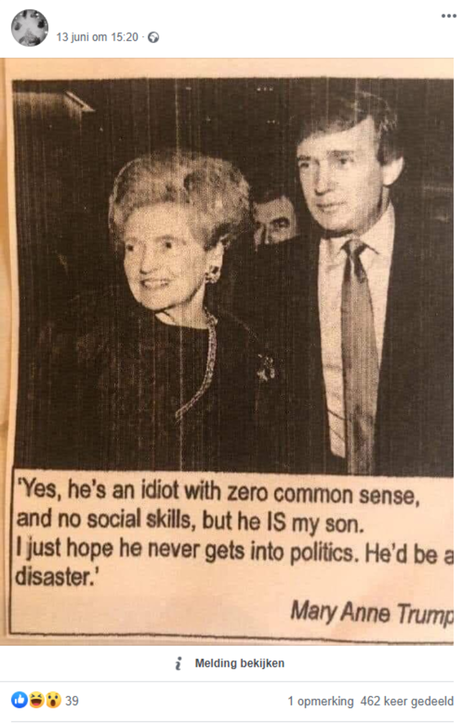 Factcheck: Nee, moeder van Donald Trump noemde hem geen 'idioot'