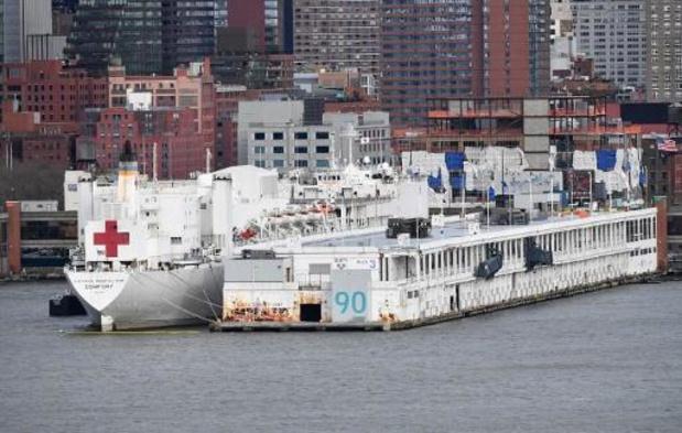 Hospitaalschip bij New York vrijwel leeg