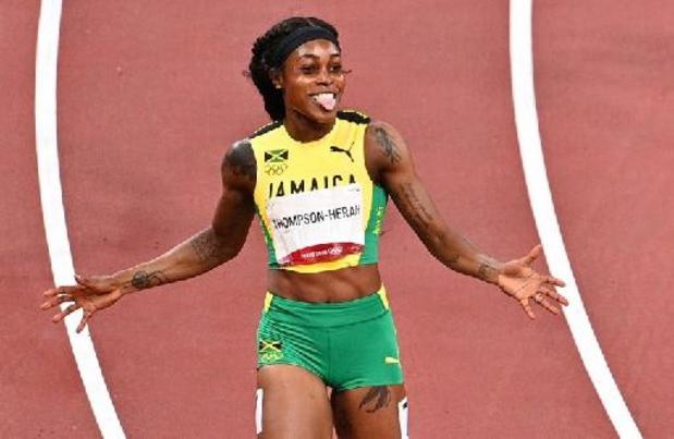 La championne olympique Elaine Thompson-Herah au départ du 200 m au Van Damme