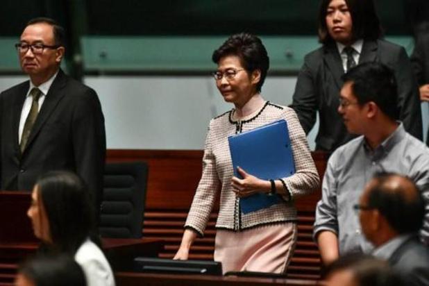 Speech van leider van Hongkong via video uitgezonden wegens protesten