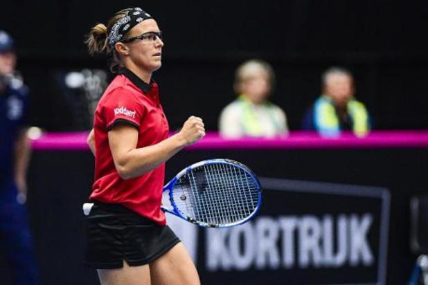 Kirsten Flipkens gagne le 3e point contre Zarina Diyas et la Belgique se qualifie