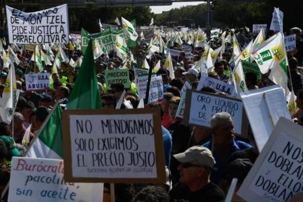 Duizenden olijfboeren betogen in Madrid tegen daling van prijzen