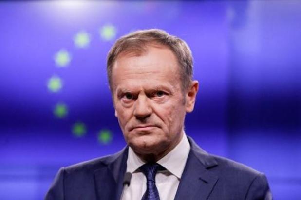 """Tusk: Nog geen werkbaar brexitvoorstel van de Britten, maar """"beloftevolle signalen"""" uit Ierland"""