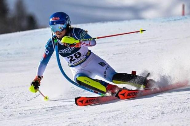 Mikaela Shiffrin snelt naar goud in combiné