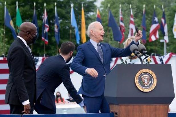 Joe Biden viert 100 dagen als president met een rally in Georgia