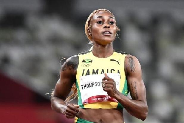 Thompson snelt naar goud op 100m, Jamaicaans podium
