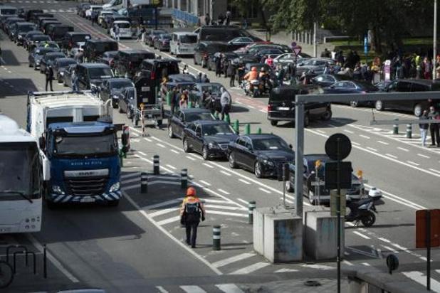 Manifestation des chauffeurs Uber à Bruxelles contre les premières sanctions