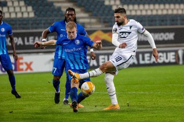La Gantoise s'incline face à Hoffenheim (1-4) et occupe la dernière place du groupe L