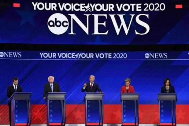 Amerikaanse presidentsverkiezingen in 2020 - Favoriet Joe Biden in de aanval tijdens levendig televisiedebat van Democraten
