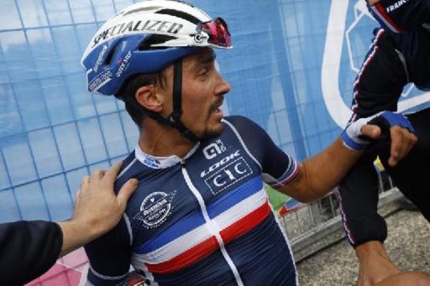 Arnaud Démare aux côtés du tenant du titre Julian Alaphilippe dans l'équipe française