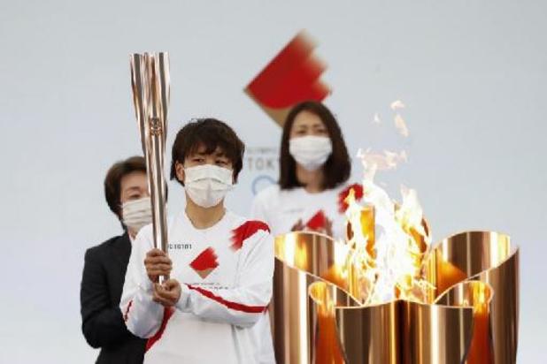 Fakkeltocht olympische vlam van start zonder publiek in Fukushima