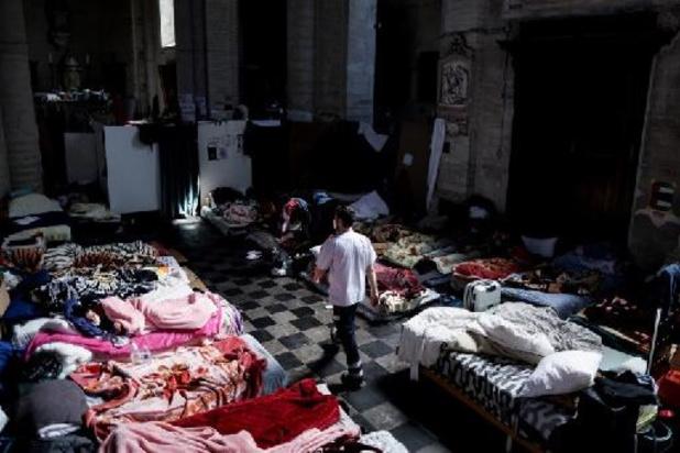 Asile et migration - Manifestation de soutien aux grévistes de la faim de l'église du Béguinage à Bruxelles