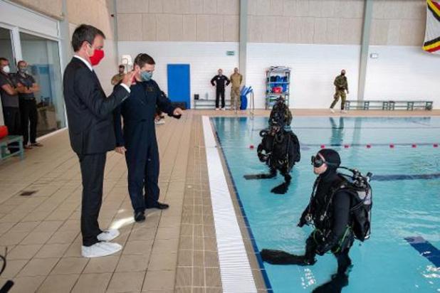 Philippe Goffin en visite à l'école de plongée de la Défense à Zeebrugge