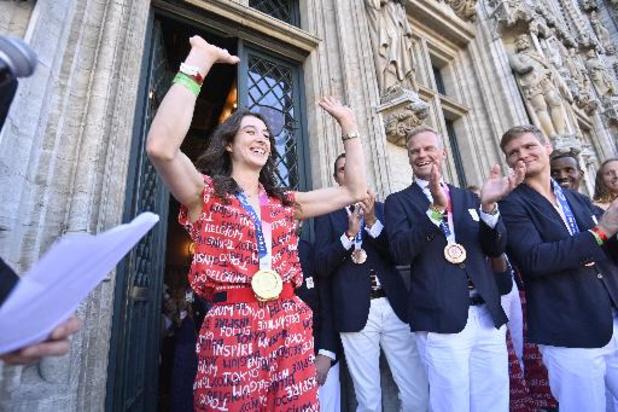Le public belge a accueilli ses médaillés olympiques sur la Grand-Place de Bruxelles