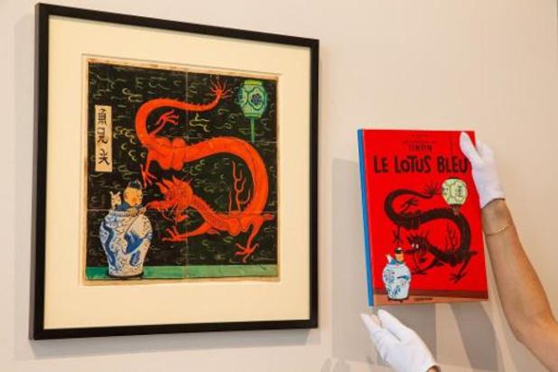 Tekening van Hergé voor Blauwe Lotus gaat voor 2,6 miljoen euro onder hamer