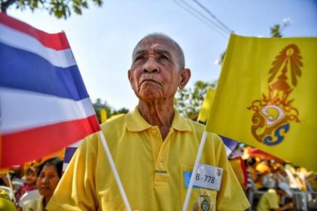 """Aanhangers van monarchie houden """"gele"""" betoging in Thailand"""