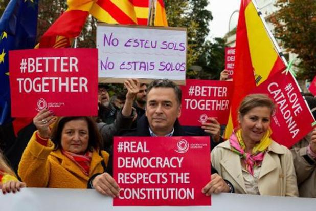 Honderdtal tegenstanders van onafhankelijkheid houdt manifestatie in Brussel