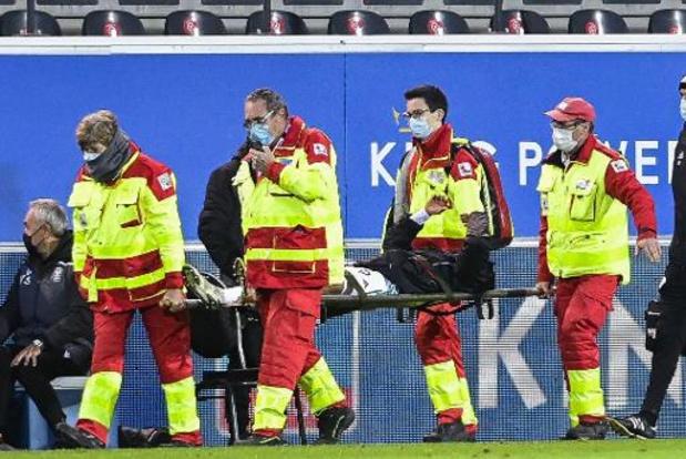Le capitaine d'OHL Frédéric Duplus victime d'une facture du tibia