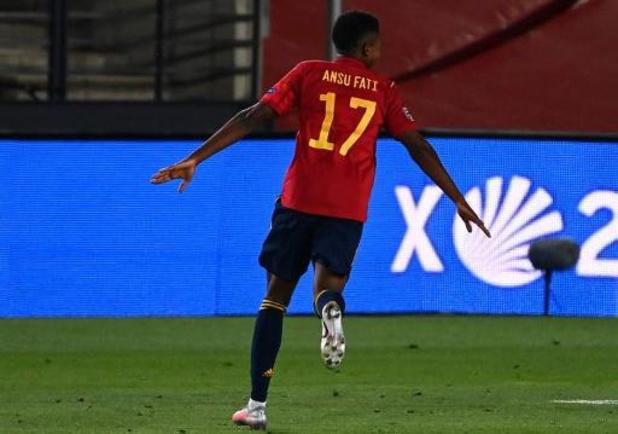 Ligue des Nations - Ansu Fati devient le plus jeune buteur de l'histoire de l'Espagne