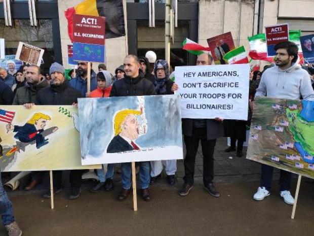 Crisis VS-Iran - Honderdtal manifestanten in Brussel tegen Amerikaanse aanval in Irak