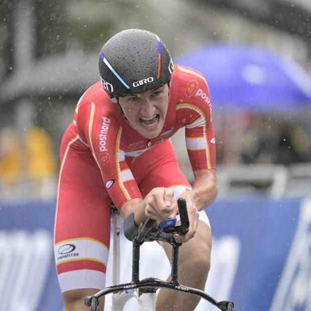 Un 3e titre d'affilée pour le Danois Bjerg dans le chrono des Espoirs, Brent Van Moer 5e