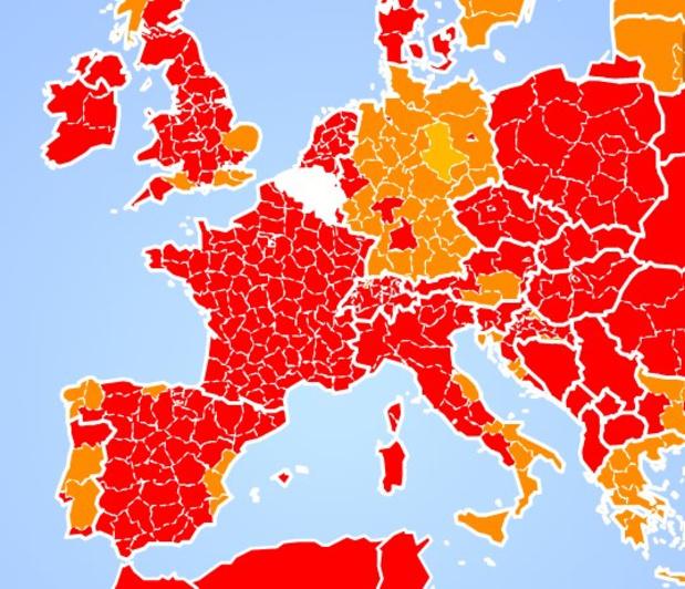 La France passe entièrement au rouge: les voyages fortement déconseillés (carte interactive)