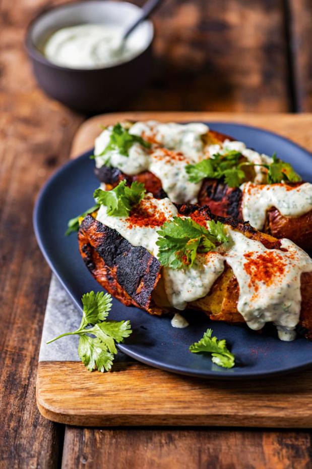 Patates douces rôties et yaourt à la coriandre