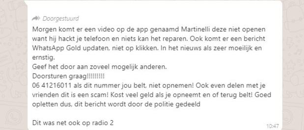 Nee, er bestaat geen Martinelli-virus in WhatsApp