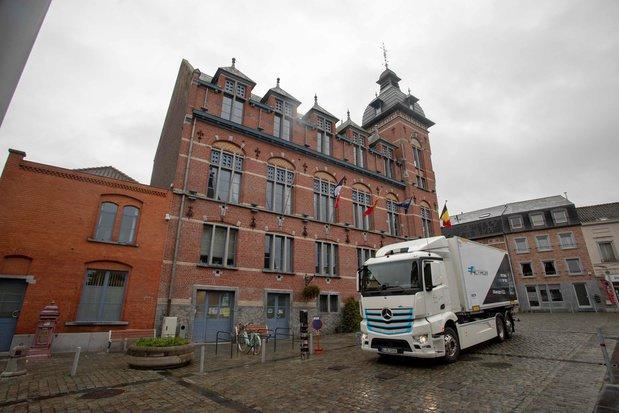 Elektrisch aangedreven Mercedes-vrachtwagens op Belgische wegen