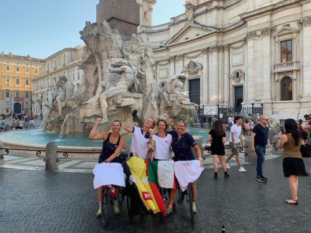 Vier Fietsvedetjes trokken van Brugge naar Rome