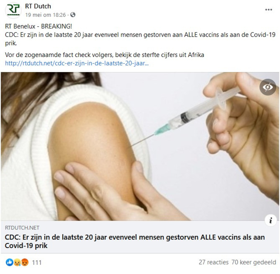 Factcheck: nee, Amerikaanse overheid meldt geen groot aantal overlijdens door coronavaccin