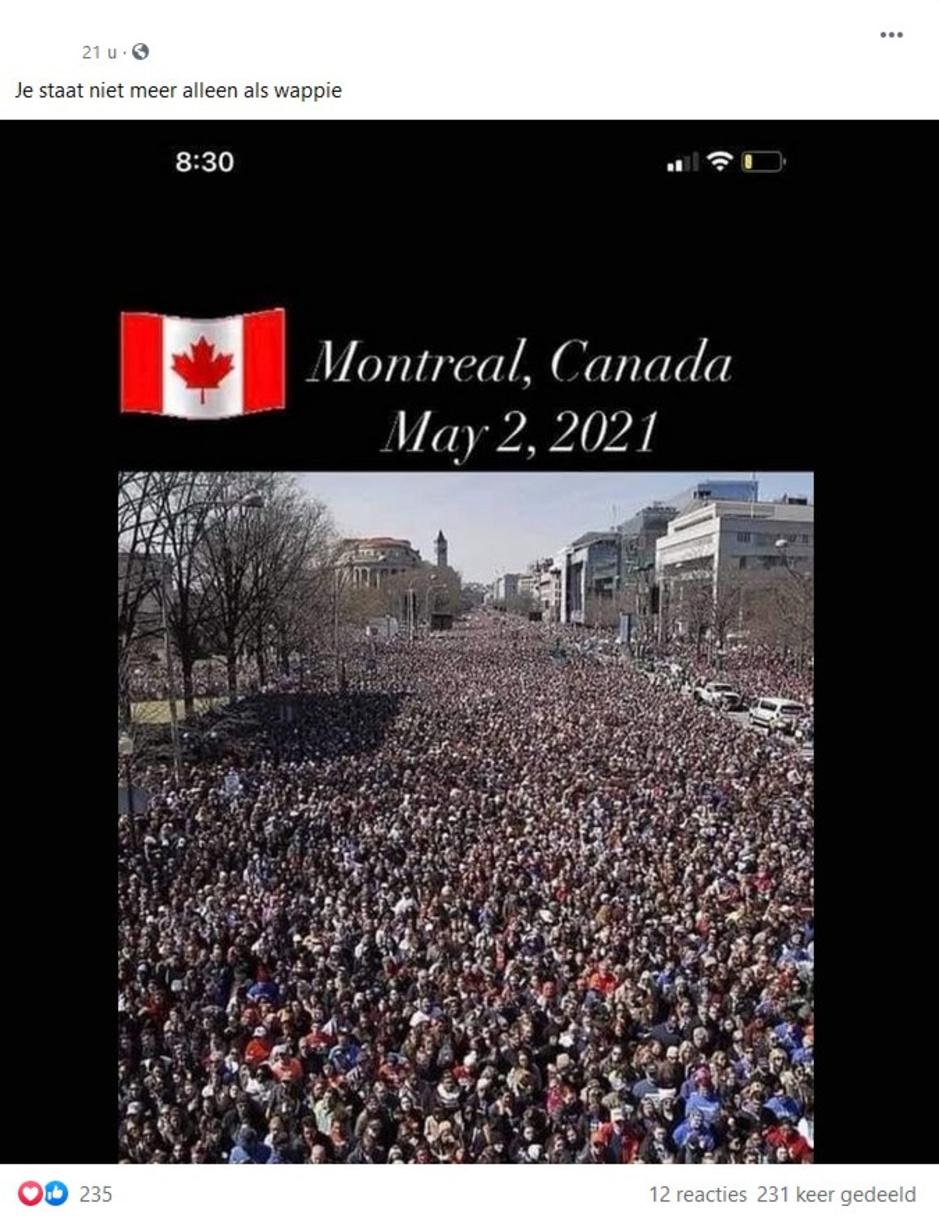 Factcheck: nee, deze foto toont geen massaal protest tegen coronamaatregelen in Canada