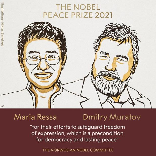 """Le Nobel de la paix à deux journalistes pour """"leur combat courageux pour la liberté d'expression"""""""
