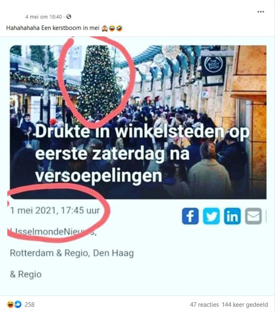 Factcheck: ja, lokale krant plaatste foto met kerstboom bij artikel over drukte op 1 mei