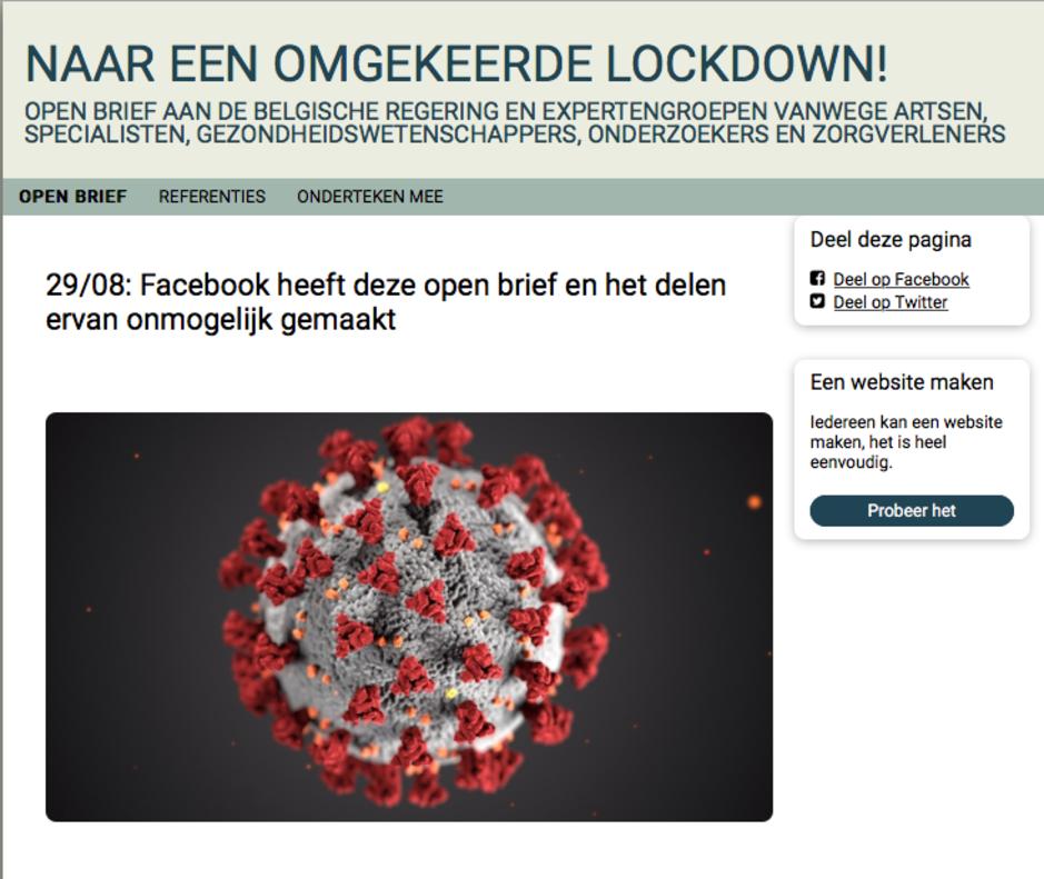 Facebook laat open brief 'Naar een omgekeerde lockdown!' opnieuw circuleren