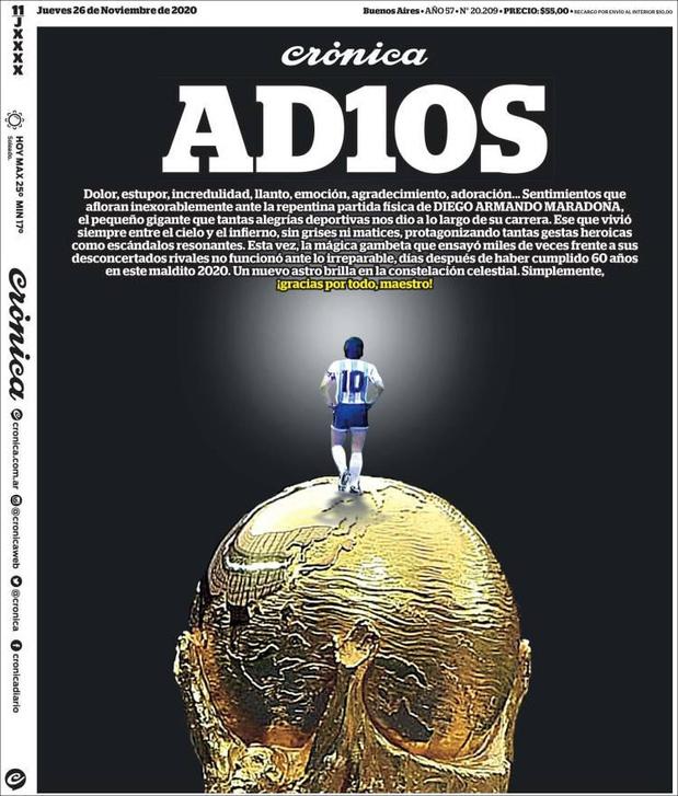 "60 Unes sur Maradona: ""El Diego"" dans les mains de Dieu"