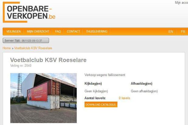 Beperkte inboedel KSV Roeselare - van bekers tot ledboarding - gaat in de openbare verkoop
